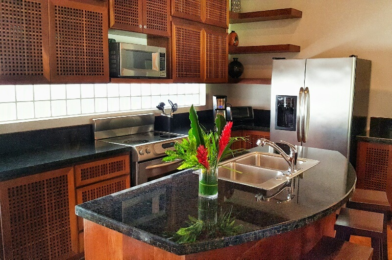 Villa kitchen at Victoria House Ambergris Caye