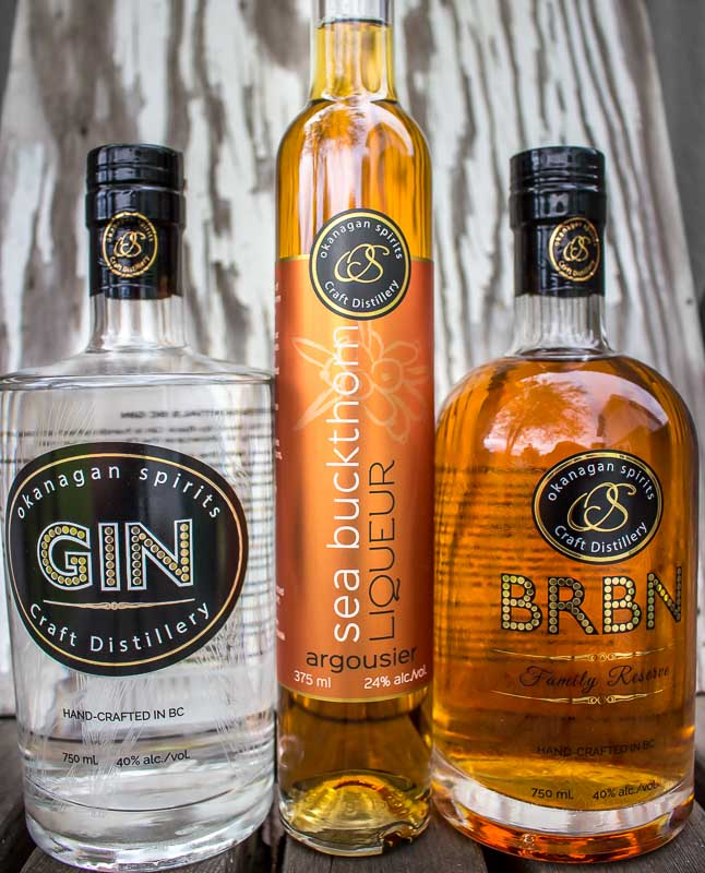Okanagan Spirits Gin Sea buckthorn liquerur and BRBN bourbon style whiskey