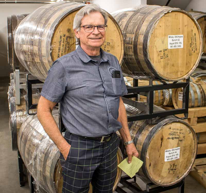 Okanagan Spirits Vernon Tony Dyck with barrels