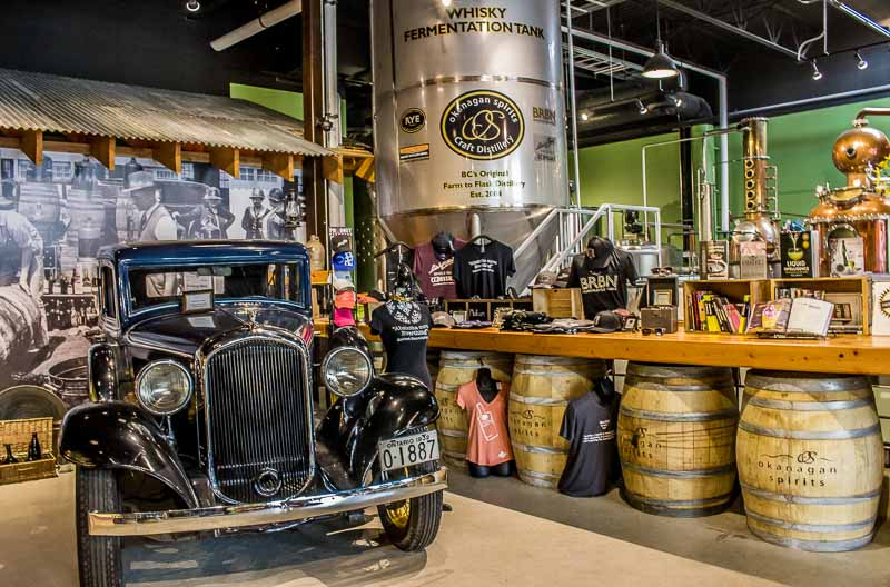 Okanagan Spirits Vernon antique car and whiskey vat
