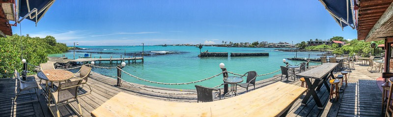 Red Mangrove Hotel Galapagos panorama of ocean side and dock