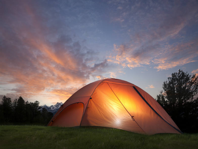 Tenting near the near the Grand Teton mountains on a day trip from Jackson Hole Wyoming