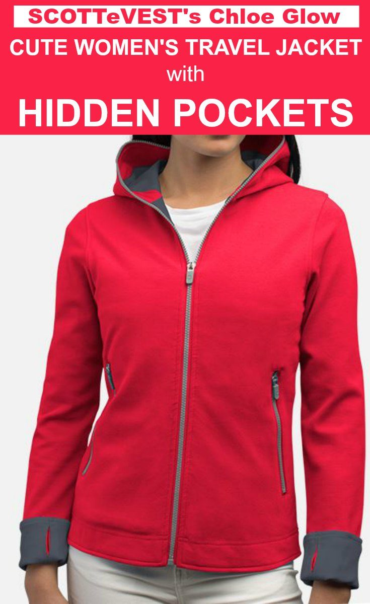 The Cute Womens Travel Jacket With Hidden Pockets Scottevest Chloe Glow Hoodie