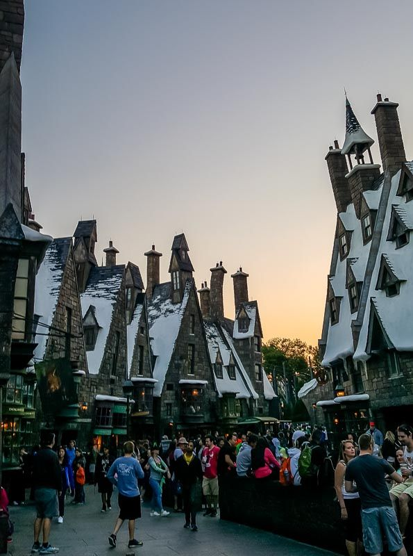 The Wizarding World of Harry Potter Diagon Alley at sunset
