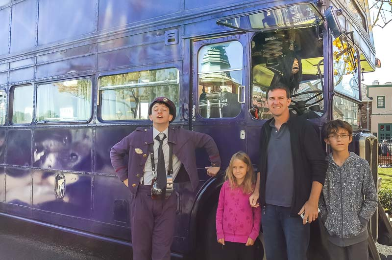 The Wizarding World of Harry Potter family with night bus driver