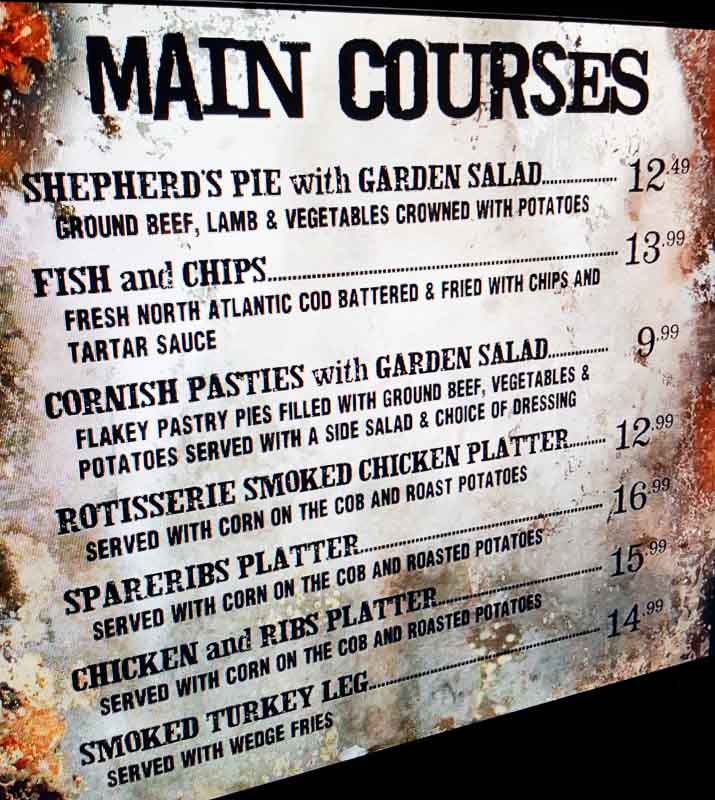 The Wizarding World of Harry Potter menu at the Leaky Cauldron