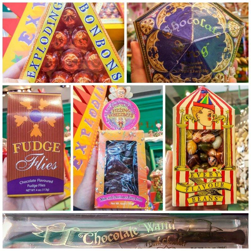 Treats inside Honeydukes sweets shop