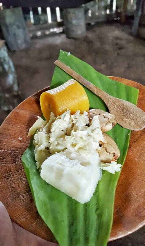 traditional food at local village in the Amazon in Ecuador