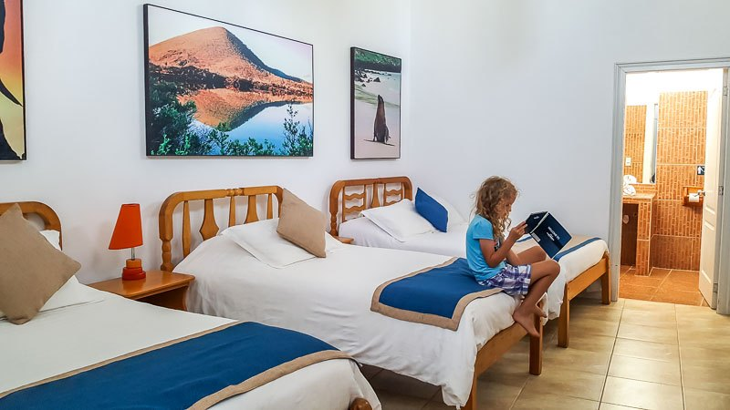 Inside family room at the Hotel Albemarle Isabela Island Galapagos