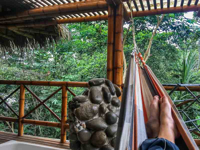 Lounging in a hammock at La Selva Lodge Amazon Ecuador