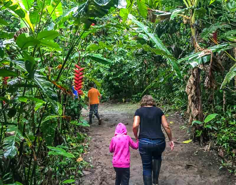 Family on a nature walk in the Amazon in Ecuador