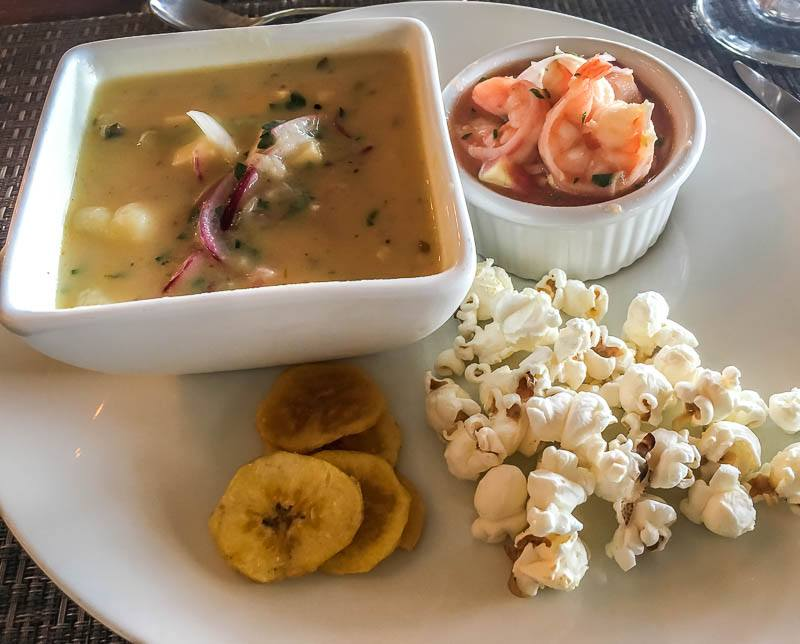 Vegetarian version of Traditional Ecuadorian food at La Selva Lodge