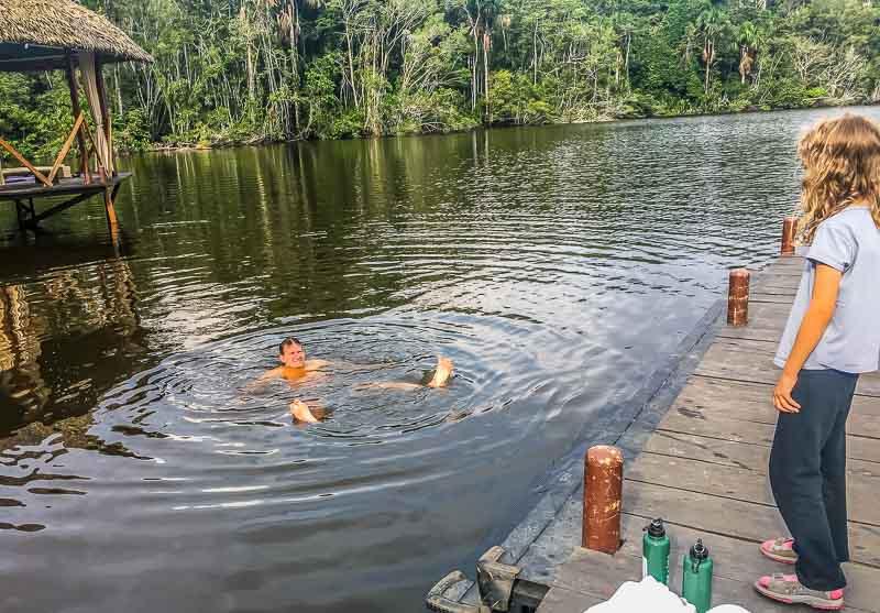 Swimming with piranhas in the Amazon at La Selva Lodge
