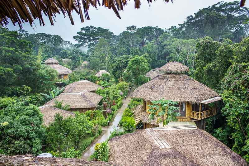 Looking over the rooftops at La Selva Lodge
