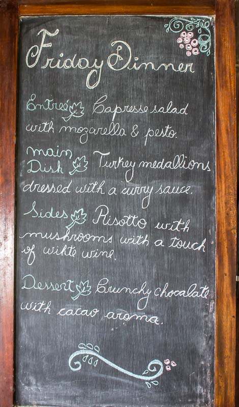 Dinner menu at La Selva