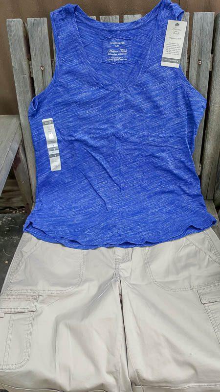 Marks womens Artisan Scoop Neck Tank Top Vintage Twill Cargo Shorts