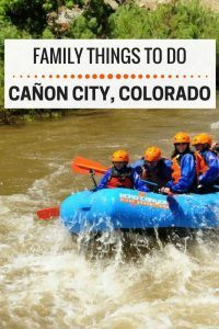 Family things to do in Canon City Colorado, including white water rafting with Echo Canyon River Expeditions and visiting the Royal Gorge Dinosaur Experience.