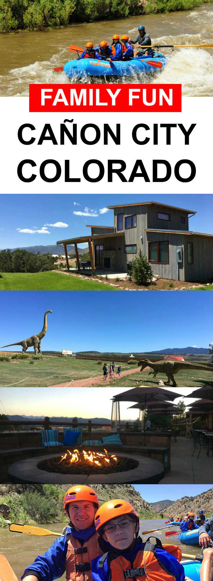 Family activities in Canon City Colorado, including white water rafting with Echo Canyon River Expeditions and visiting the Royal Gorge Dinosaur Experience.