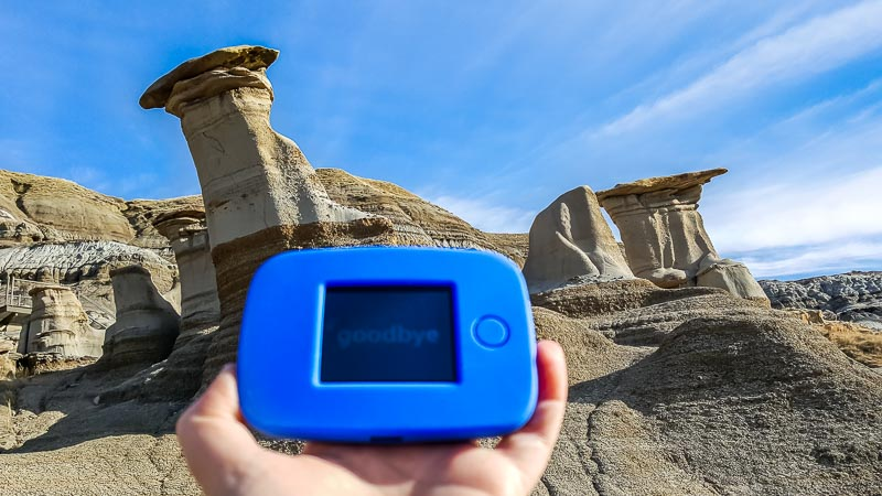 Staying connected with the Tep at the hoodoos in Drumheller Alberta