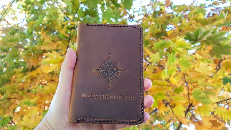 JooJoobs leather passport holder front