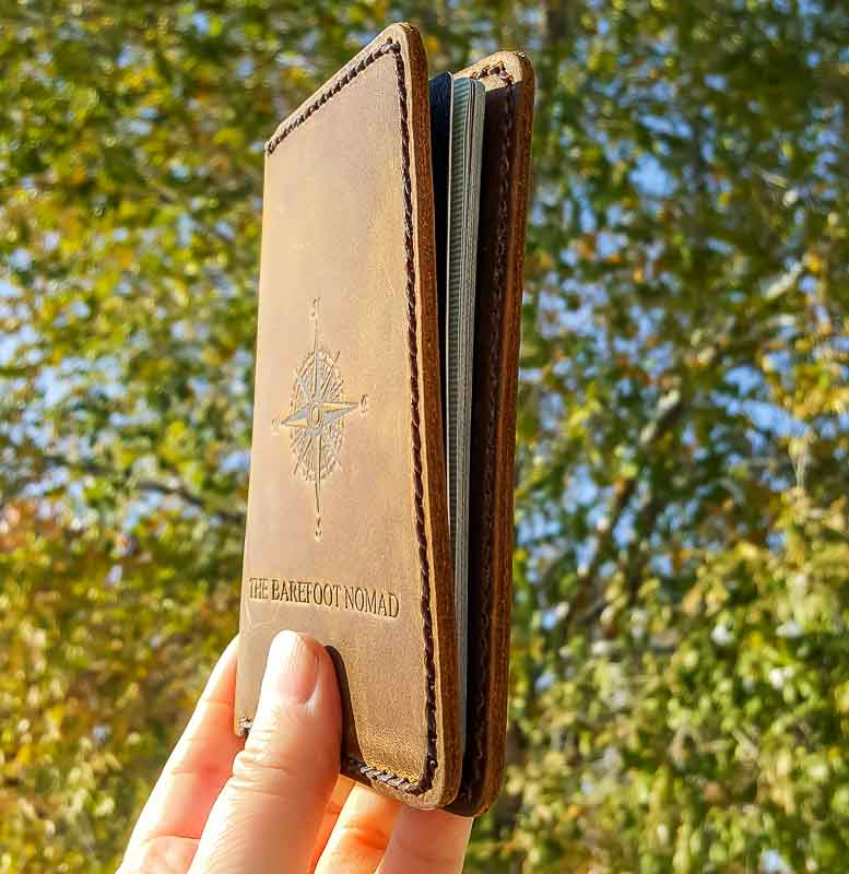 JooJoobs personalized leather passport holder side