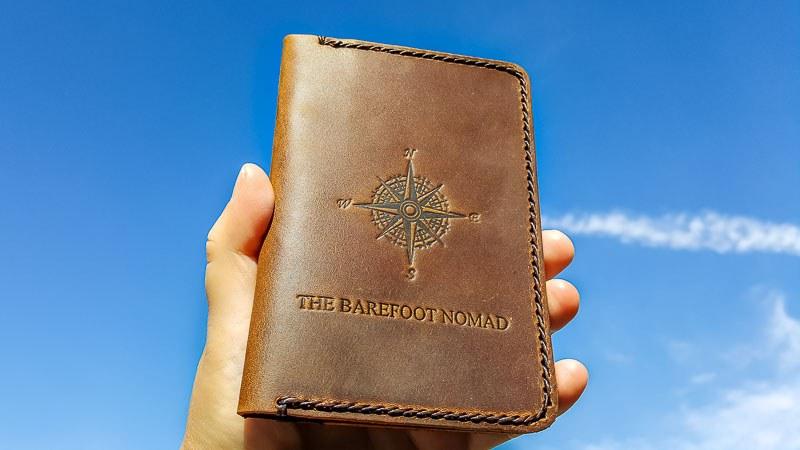 JooJoobs personalized leather passport holder sky