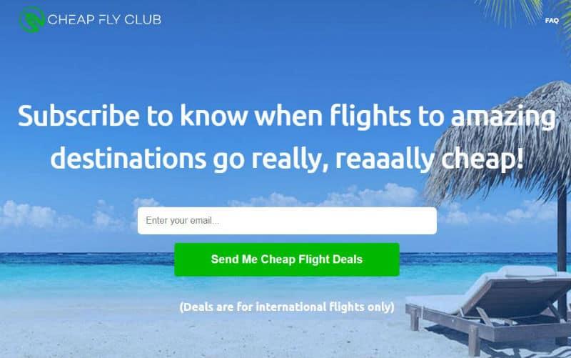 Cheap Fly Club homepage
