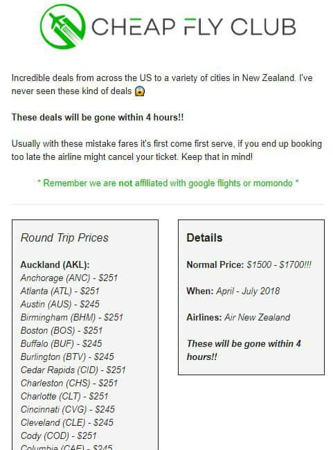 Cheap fly Club New Zealand Deal