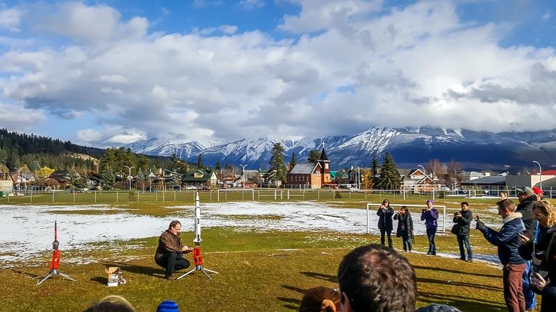 Model rocket launch Big Bang Expo at the Jasper Alberta Canada Dark Sky Festival