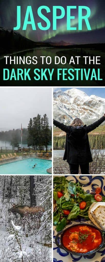 Things to do in Jasper Alberta. Visit the Jasper Dark Sky Festival! Looking for something just a little bit different for your next trip? Why not visit the Dark Sky Festival in Jasper? Bighorn sheep and elk are regularly spotted in town, and the town site and surrounding area are home to some of the most stunning views of alpine lakes and mountains you'll ever see. The Dark Sky Festival takes place over two weekends in October that are packed with events, speakers and activities that feature science, space and conservation. Jasper Dark Sky Preserve | Things to do in Jasper Alberta | Jasper Alberta | Jasper National Park | Northern Lights | Canada | Alberta | Canadian Rockies | Scenery |Where to Stay in Jasper National Park | Dark Skies | Jasper National Park Things To Do | Jasper National Park Winter | #travel #traveltips