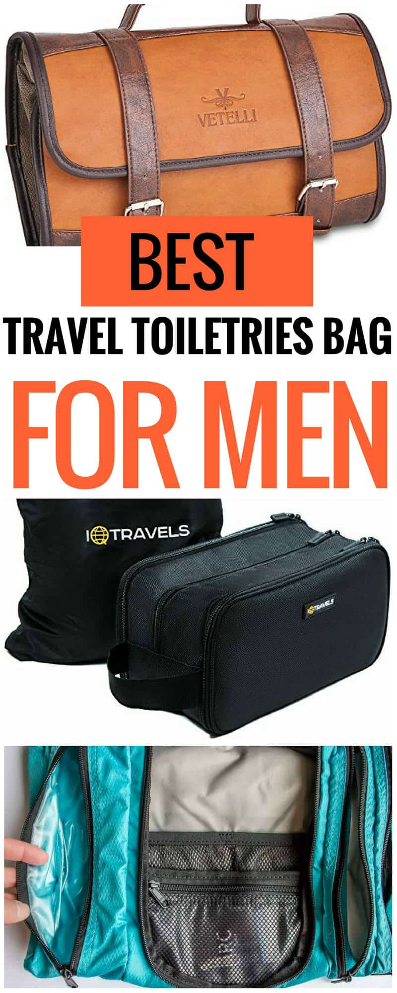 best travel toiletries bag for men. If you're traveling with a full shaving kit, or you're on a lightweight backpacking adventure, we've found the best toiletry kit for you. | travel toiletries bag | best travel toiletries bag | travel toiletries bag for men | best travel cosmetics case | travel cosmetics bag | cute toiletries bag | large toiletires bag | small travel toiletries bag | hanging toiletries bag | travel toiletries Dopp kit | travel toiletries bag Christmas gift | toiletries bag for trips or vacation | cute toiltries bag | clear toiletries bag #travel #traveltips #packingtips #packing