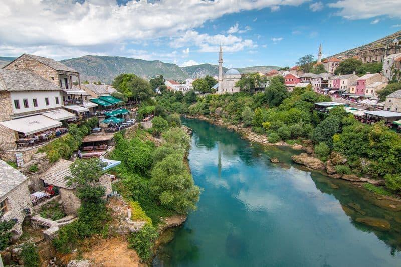 Bridge over Neretva River in Mostar Bosnia