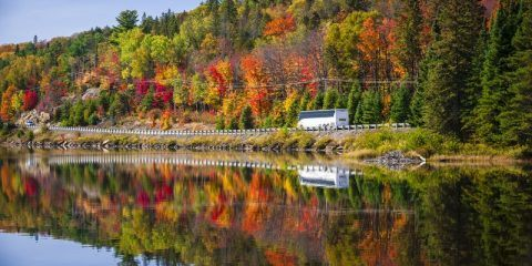Bus on Highway 60 at Lake of Two River Algonquin Park Ontario Canada