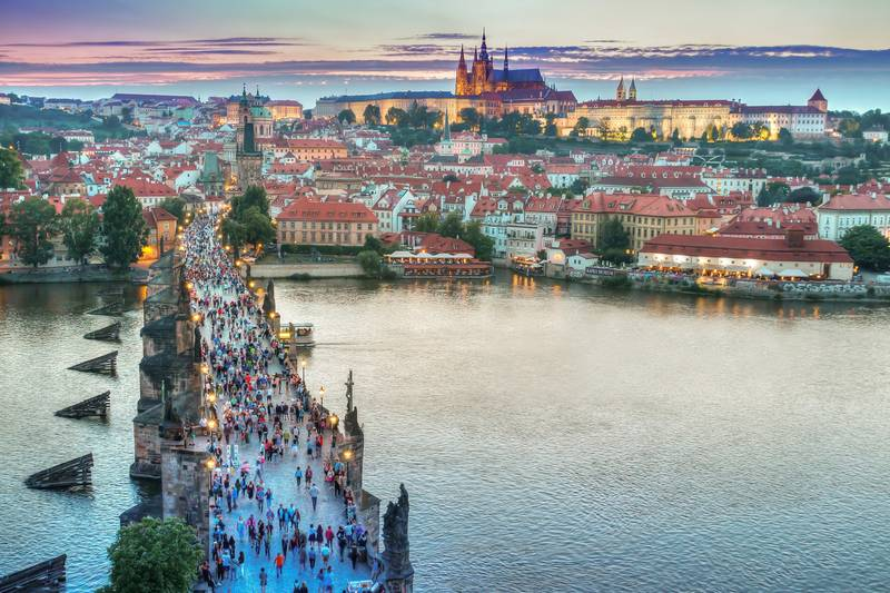 Charles Bridge and Prague Castle sunset sunrise