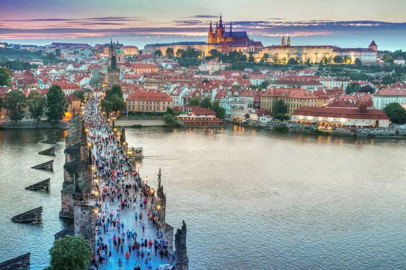 Charles Bridge and Prague Castle sunset sunrise