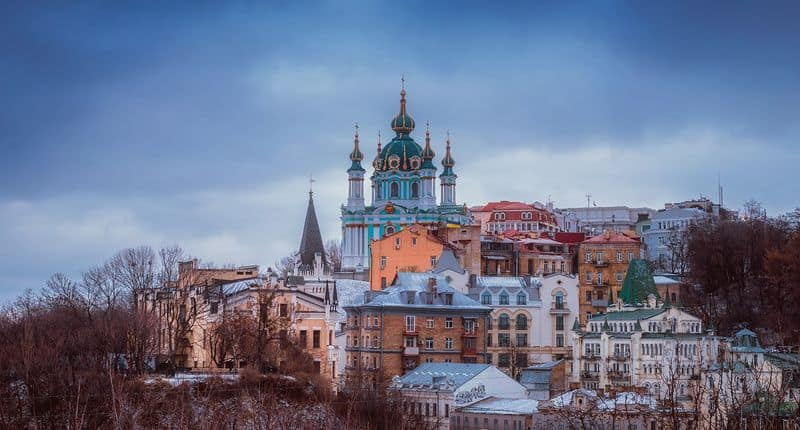 Kiev Ukraine skyscape and church