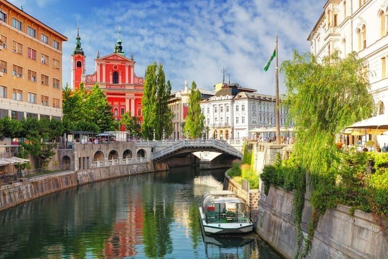 Ljubljana Slovenia church and the river Ljubljanica