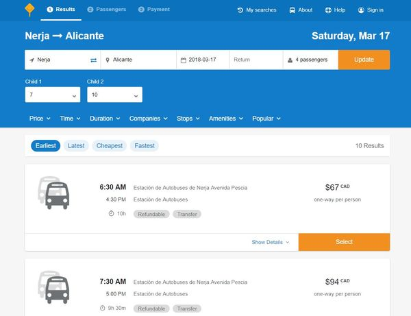 Nerja to Alicante busbud search results screenshot