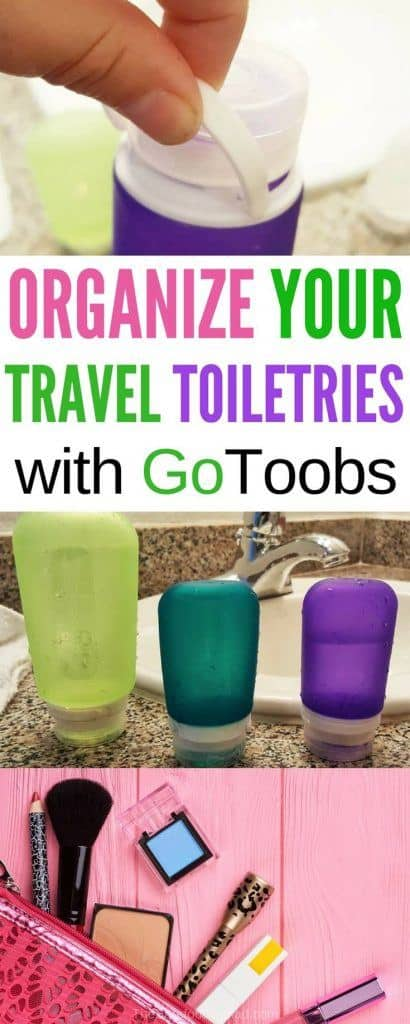 Our tips to organize your travel toiletries for carry on with GoToobs containers. They're cute, leak resistant, and great for storage for beauty products, shampoo and more.