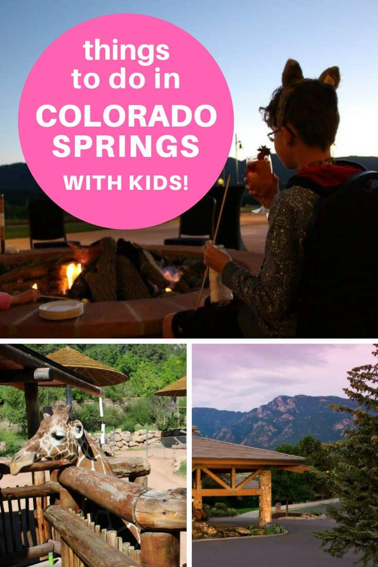 Colorado springs kid at campfire, giraffes at zoo, mountain sunset