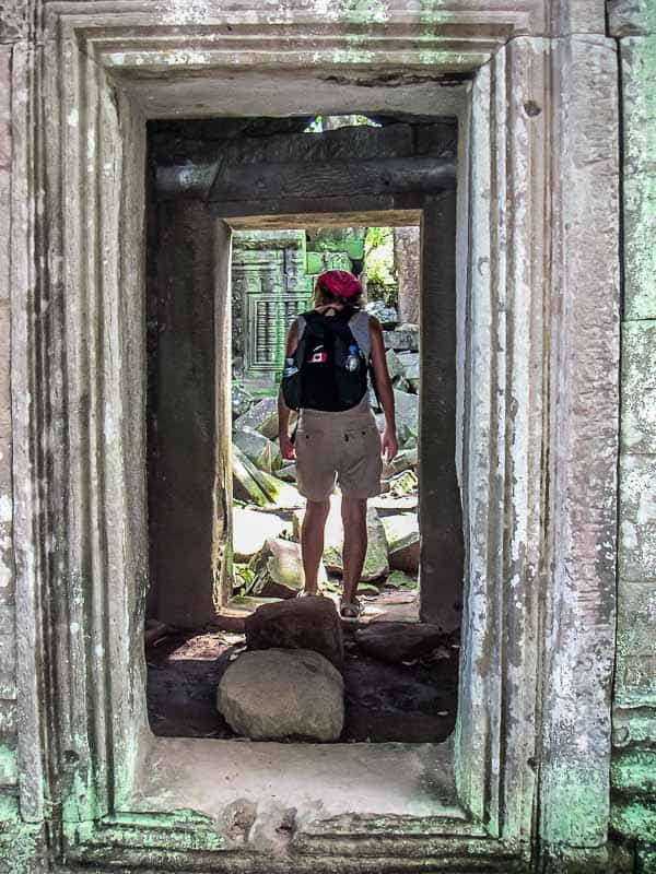 Backpacking with my Eagle Creek day pack back in 2003 at Angkor Wat Cambodia