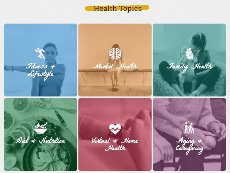 Sunlife Health Topics Screen capture