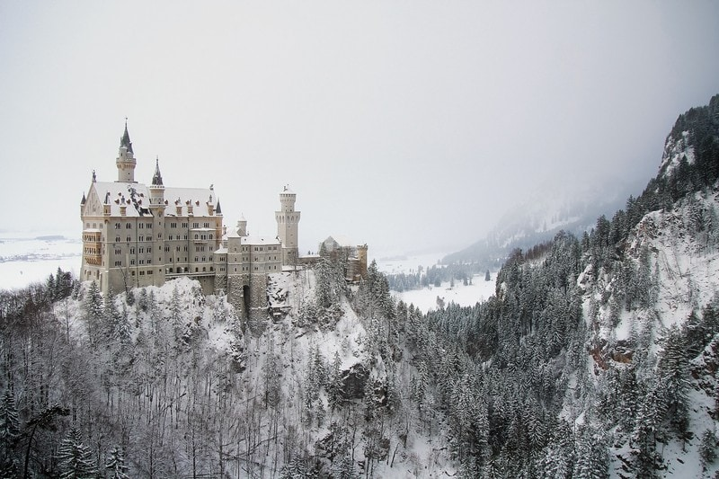 Neuschwanstein Castle Germany covered in snow in winter