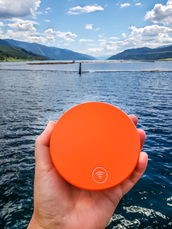 Testing our Skyroam Solis WiFi hotspot on a ferry in Needles BC