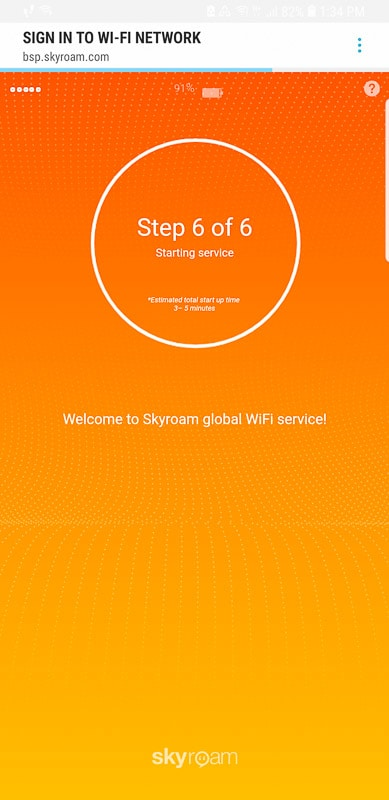 Skyroam Solis WiFi connected screenshot