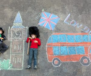 little kids and chalk drawing london
