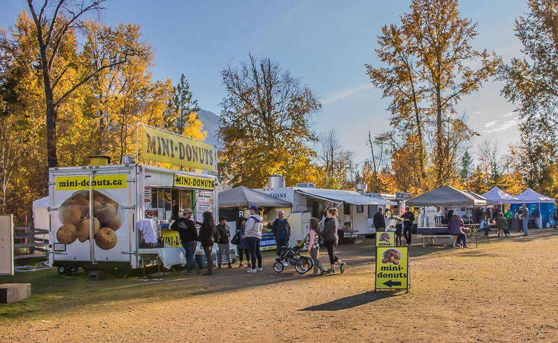 food trucks and mini donuts at the Salute to the Sockeye festival at Tsutswecw Provincial Park