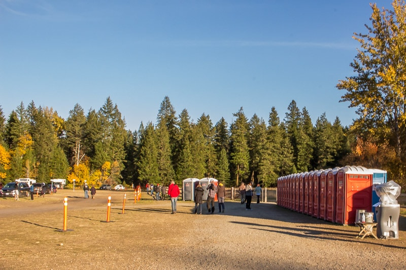 parking lot and port-a-potties at the Salute to the Sockeye festival at Roderick Haig-Brown Provincial Park, now Tsutswecw Provincial Park