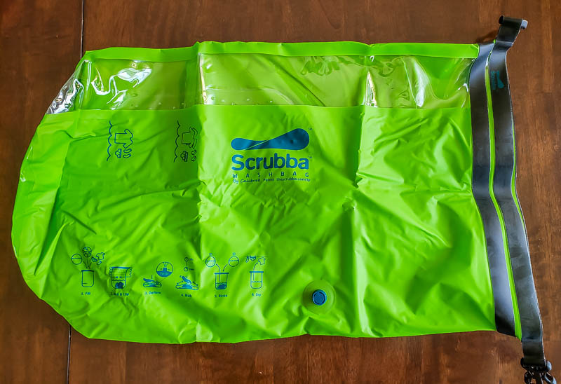 Scrubba review - empty Scrubba on table waiting for laundry to wash