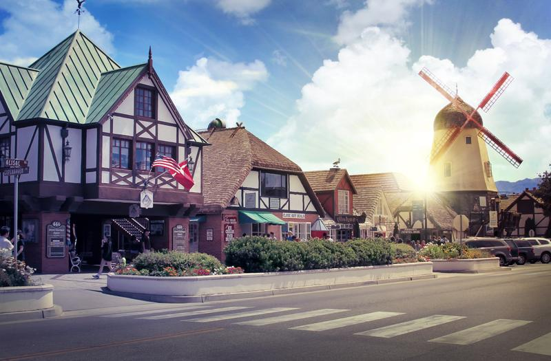 Danish European town of Solvang California on a weekend trip from LA California